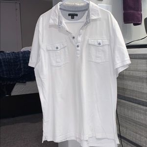 Banana Republic quarter button up white t-shirt